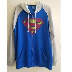 Superman Blue and Gray Men's Hoodie size XL